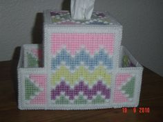 Quilt Pastel Colored Tissue Box Cover by needlecraftsupershop, $14.99 Plastic Canvas Tissue Boxes, Plastic Canvas Crafts, Plastic Bags, Plastic Canvas Patterns, Tissue Box Covers, Tissue Holders, Diy And Crafts, Arts And Crafts, Kleenex Box
