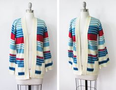 25 OFF SALE vintage striped cardigan / 90s by RustBeltThreads. $22.50, via Etsy.