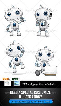 Robot Mascot — JPG Image #set #mascot • Available here → https://graphicriver.net/item/robot-mascot/3455778?ref=pxcr