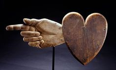 Ezra Ames and Bella Dexter Heart-and-Hand weathervane Chelsea, Massachusetts, 1830 Private collection.so amazing! Chelsea, Show Of Hands, Weather Vanes, Arte Popular, Outsider Art, Sacred Heart, Heart Art, Or Antique, Wood Carving
