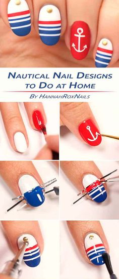 Nail Designs Coffin out Nail Art Design For Short Nails Beginner per Summer Nail Art Designs Gallery where High End Nail Care Products Nautical Nail Designs, Nail Art Designs, Nautical Nails, Simple Nail Designs, Nails Design, Easy Designs, Nail Lacquer, Nail Polish, Argyle Nails
