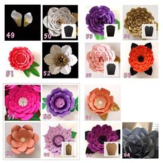 Hardcopy Paper Flower Templates / DIY paper flowers / Price is for ONE style Tissue Paper Flowers, Paper Flower Backdrop, Felt Flowers, Diy Flowers, Paper Flower Templates Pdf, Flower Petal Template, Flower Crafts, Flower Art, Leave In