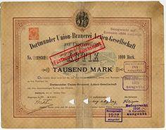 DORTMUNDER UNION-BRAUEREI ACTIEN-GESELLSCHAFT, Aktie über M 1.000 # 2852; Dortmund, 31. Oktober 1885