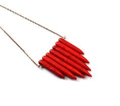 Red necklace: howlite spikes, primitive, tribalhttp://www.etsy.com/listing/98432943/red-necklace-howlite-spikes-primitive?ref=tre-2720683683-1#681team