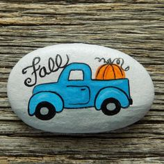 Fall Vintage Painted Rock, Decorative Accent Stone, Paperweight by HeartandSoulbyDeb on Etsy Rock Painting Patterns, Rock Painting Ideas Easy, Rock Painting Designs, Painting For Kids, Paint Designs, Painted Rocks Craft, Hand Painted Rocks, Painted Pumpkins, Painted Stepping Stones