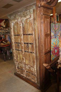 Antique Armoire Old Doors Wardrobe Indian Furniture Wine Storage Cabinet Original TEak Wood Iron Straps Farmhouse Eclectic Bohemian Decor Maple Furniture, Indian Furniture, Antique Furniture, Baby Furniture, Armoire Cabinet, Antique Armoire, Wine Storage Cabinets, Rustic Cabinets, Stone Sculpture