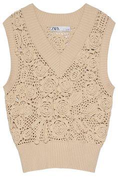 V-Neck Knit Vest. Crochet Vests, Crochet Tops, Knit Vest, Crochet Cardigan, Winter Vest, Renta, Zara Women, Smocking, Dress Skirt