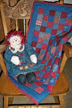 mini quilt Patchwork Country Red and Blue by granniesraggedybags, $25.00