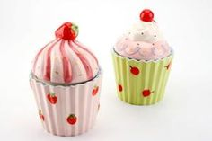 Large Ceramic Cupcake Storage Jar - Choice of Strawberry or Cherry detail | eBay Visit our family business...The Ginger Sheep. £5.99