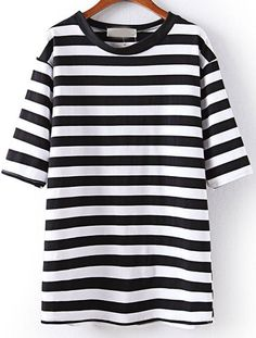 Black Half Sleeve Striped Loose T-Shirt US$20.33