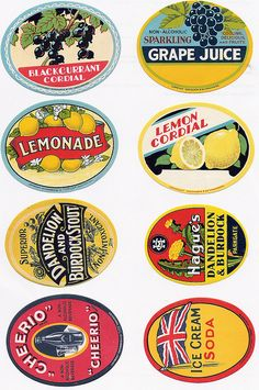 Vintage Bottle Labels #2 of 2 - A Flickr set of high res scanned labels. Great to print and label bottles for your own soiree.
