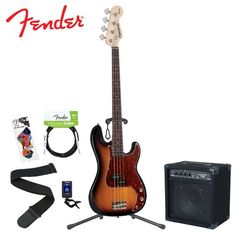 Buy save Fender Starcaster JF-028-8402-532-KIT-1 3-Tone Sunburst P Bass Kit with Strap, Stand, Cable, Tuner, Pick Sampler and 15-Watt Bass Amplifier.
