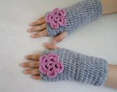 Kids girl gloves for 8-10years old, gloves, grey  with pink flower, fingerless mittens,
