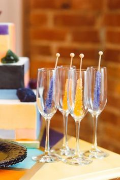 Rock Candy Champagne Signature Cocktails | Geometric Rocker Inspired Wedding, The Loft at 600 F, DC | Brooke Michelle Photography