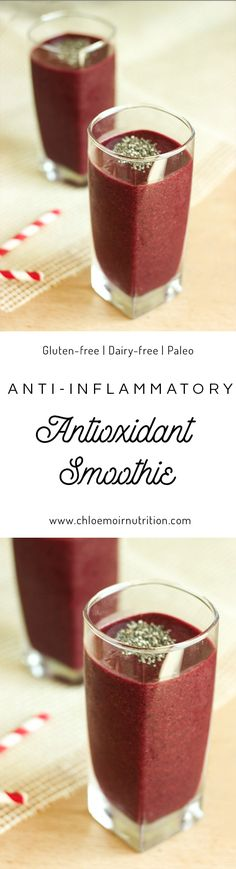 A healthy recipe for a antioxidant smoothie that is easy and so delicious! Paleo   Gluten-free   Dairy-free   Healthy   Refined sugar-free   Diet   Weight loss   anti-inflammatory   Berries