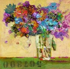 """Acrylic Floral on Canvas ~ """"Lavender Blue and Rosemary Green"""" by Texas Artist Nancy Standlee"""
