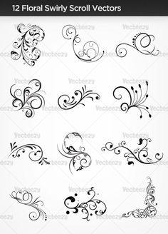 Floral scroll vectors