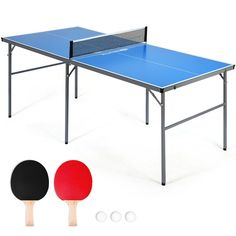 This table-tennis table is the best gift for table-tennis lovers! Compared with the traditional one, this table-tennis table makes an innovative breakthrough. Its foldable design makes it more convenient for both storage and carry, and makes the assembly tool-free. Premium table top gives a fine bounce to the ping-pong ball, increasing the game experience. Stable structure allows intense play without overturning. And 1 net, 2 professional ping-pong bats, and 3 ping-pong balls are included.