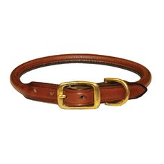 Dog Collar Rolled Leather Oakbark