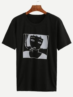Black Girl Print T-shirt -SheIn(Sheinside) Mobile Site