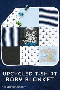 A free sewing pattern for an upcycled t shirt baby blanket. Make a cute knit receiving blanket out of sentimental t shirts. Sewing pattern.