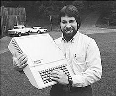 Steve Wozniak of Apple Computer, Inc. in the late 1970s with an Apple II model personal computer. It unveiled in April 1977 and began selling to the general public in June for $1,295.  The Apple II was the first pre-assembled personal computer designed for the general market.