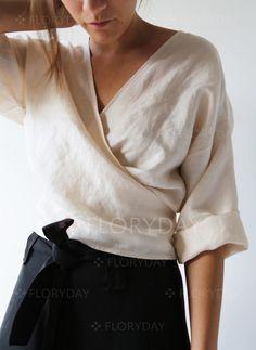 Blouses - $38.99 - Solid Polyester V-Neckline Half Sleeve Blouses (1645249067)
