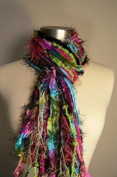 Knotted Scarf All Fringe Scarves Womens Scarf  by FlorasFinest, $34.95