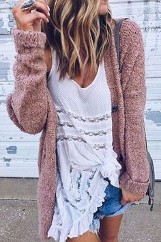 Purple Fluffy Signle Breasted Loose Fashion Cardigans - US$19.95 -YOINS
