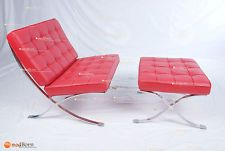 Barcelona Chair Red Italian Aniline Leather Inspired By Mies Van Der Rohe