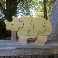 wooden rhinocerous puzzle for children
