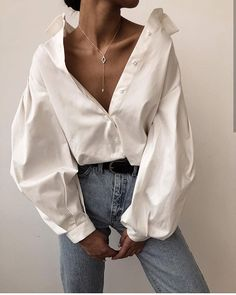 Puff sleeve cotton blouse A luxe 70 count cotton compact yarn shirt treated with liquid ammonia Mode Outfits, Casual Outfits, Fashion Outfits, Womens Fashion, Fashion Tips, Casual Shirt, Fashion Trends, Summer Outfits, Fashion Clothes