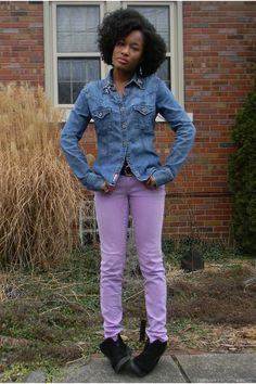 Black-clark-shoes-light-purple-bullhead-jeans-denim-guess-shirt