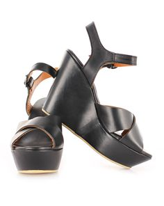 Shannon Wedge in Black by Kathryn Wilson Black leather sandal Black Leather Sandals, Heeled Mules, Wedges, Black And White, Heels, Summer, Fashion, Heel, Moda