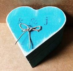 Wooden Heart Shape Ring Box