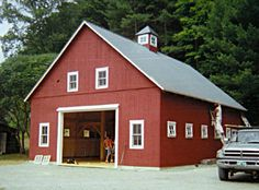 A gallery of barns and other agricultural buildings. post and beam construction, mortise and tenon joinery, luxury horse stables and solid wood timbers. Container Home Designs, Container House Plans, Garage Apartment Plans, Garage Apartments, Awning Shade, American Barn, Agricultural Buildings, Wooden House, Farmhouse Plans
