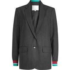 Tibi Blazer ($755) ❤ liked on Polyvore featuring outerwear, jackets, blazers, black, sporty jacket, blazer jacket, tibi blazer, striped blazer and wool jacket
