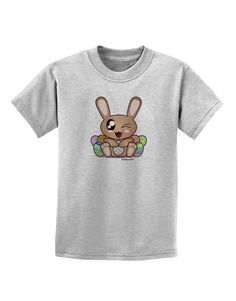 TooLoud Cute Bunny with Eggs Childrens T-Shirt