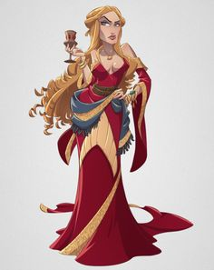 """Cersei Lannister cartoon pin up by Nicola Saviori!""""Everyone who isn't us is an enemy."""" – Cersei Lannister"""