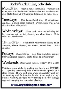 Weekly cleaning schedule **** Love this!!! ****