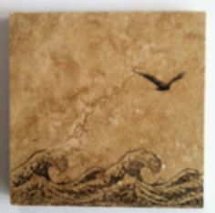 """From Huckbyshappilyeverafter.blogspot and pinned to my """"DIY, things I've made, or will make"""": coasters from 3x3 bathroom tiles (16 for $10.99 - 15% at Menards. Staz On Jet Black Ink, 2 wood backed stamps from """"Happy Stamping"""" The Paragon circa 1976. P.S. Keep rubbing alcohol close by to wipe away mistakes, rinse, start again.  Also - I didn't use the turtle wax as in the org. post.  Didn't like the finish, but like the """"thirsty stone"""" effect."""