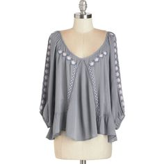 ModCloth Boho Short Length 3 As Above, So Billow Top (77 BRL) ❤ liked on Polyvore featuring tops, blouses, apparel, grey, woven top, embroidery blouses, ruffle top, bohemian tops, grey blouse and open back blouse