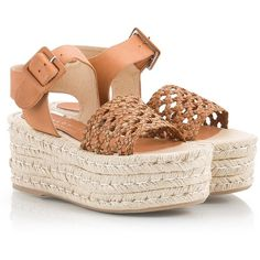 Palomitas - EUGENIA Tan intrecciato leather flatform espadrille... (16375 RSD) ❤ liked on Polyvore featuring shoes, sandals, camel, woven leather sandals, platform espadrilles, espadrille sandals, woven sandals and tan leather sandals