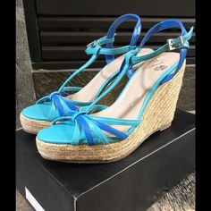 New Colin Stuart Turquoise Wedges Size 7.5 New in box never worn! Colin Stuart Turquoise T-Strap Espadrille Style Wedges Size 7.5. These were made for Victoria's Secret. These are beautiful wedges. The uppers and wedges are in perfect condition. Heel is 4.25 inches with a 1 inch platform in the front.  Perfect for all of your summer outfits Colin Stuart Shoes Wedges