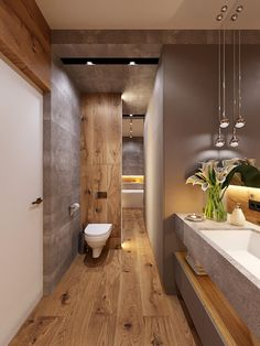 In a bathroom, a single overhead light will cast an unwanted shadow, making it difficult to apply makeup or shave. Bathroom Design Small, Bathroom Interior Design, Modern Bathroom, Zen Bathroom, Washroom, Interior Paint, Bathroom Design Inspiration, Bad Inspiration, Bad Styling