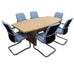 New 2m x 1m Beech Boardroom Table With 6 Used Light Blue/Chrome Meeting Chairs