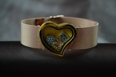 Gold tone mesh bracelet with heart slide by Our Hearts Desire http://ourheartsdesire.com/diana