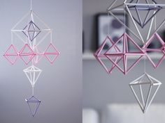 himmeli (noun): A type of hanging, mobile decoration made of straw or other similar material. Of Swedish decent. Homemade Mothers Day Gifts, Homemade Valentines, Diy Straw Crafts, Diy Crafts Using Straws, Fun Crafts, Valentines Card Design, Straw Art, Papier Diy, Diy Bebe