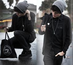 Freezing in black    (by Adam Gallagher) - American Apparel Beanie, Hot Topic Black Flannel, Necklace, Tuk Creepers