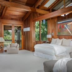 Contemporary, Rustic Bedroom With Redwood Walls, Ceiling
